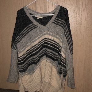 Black and grey heavy  knit sweater